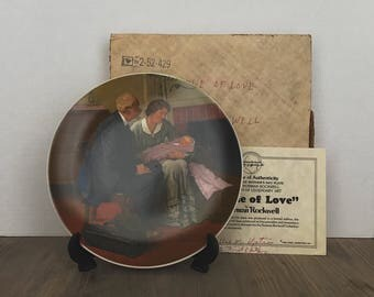 Vintage Norman Rockwell, Norman Rockwell Plate, Norman Rockwell Collectible, Cradle of Love, 1980, First Edition, Box Included, Certified