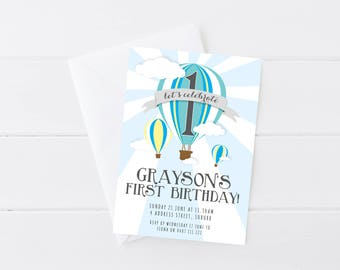 Boys Hot Air Balloon Birthday Party Invitation | Printable Kids Birthday Invitation | Gender Neutral Birthday Invitation