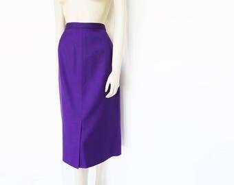 Purple Pencil Skirt, Secretary Skirt, UK12, Vintage Skirt, Clothing, Skirt, Purple, PinUp, Wool Skirt, Purple Skirt, Pencil Skirt