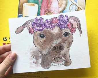 Custom Pet Portraits w/ Crown of Flowers or Leaves