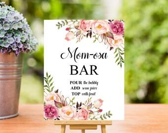 Boho Momosa Bar Sign Printable, Bohemian Baby Shower Momosa Bar Sign, Pink Floral Baby Shower Decorations Mimosa Bar Sign, Instant Download
