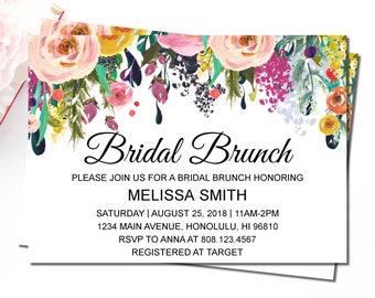 Floral Bridal Brunch Invitation, Bridal Shower Invitation Printable, Wedding Shower Invitation, Garden Bridal Shower Invitation, B14