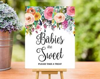 Baby Shower Favors Sign Printable, Spring Summer Floral Boho Take a Treat Sign, Baby Shower Decorations, Dessert Table Sign, C17