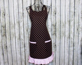 Brown polka dot apron, hostess apron, garden apron, painting apron, craft apron, cleaning apron, kitchen apron, unique kitchen apron
