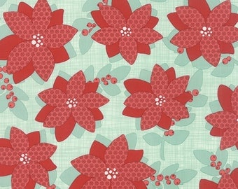 """By The HALF YARD - Winterberry by Kate and Birdie for Moda, #13140-12 Poinsettia on Mint, Red 3"""" Flowers on a Tonal Mint Green Crosshatch"""
