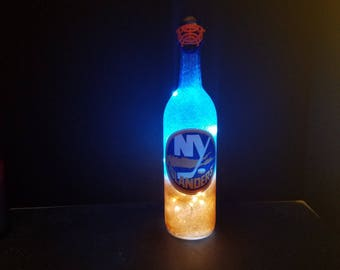 NY Islanders bottle light, Islanders fan, Islanders gift, Islanders decor, Islanders birthday, Islanders light, Islanders party,