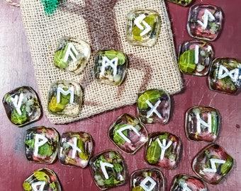 Mistletoe Resin Rune Set with Bag, Preserved mistletoe runes, Frigga Rune Set, Handmade Resin Rune Set with mistletoe, elder futhark rune se