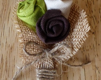 Vintage button, fabric and burlap