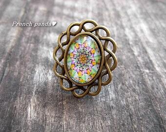 "Beautiful Adjustable ring bronze boho ""psychedelic"""