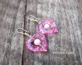 Pair of heart and Pearl Earrings