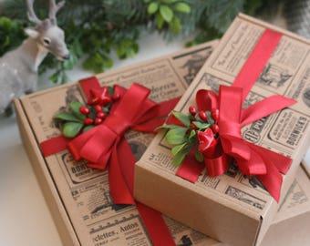 Christmas gift box, set of 2, Christmas decors, gift wrapping, red bow gift, Christmas gift from Santa, box with lid, Christmas gift bag
