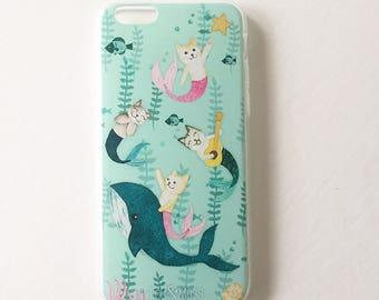 Purrmaid, Mermaid iphone case, iPhone 7, 6s, 6, Plus, 8, X , TPU clear case,