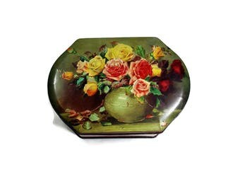 VINTAGE TIN Collectible Rileys Toffee Candy Tin Floral Hinged Tin Box from England Shabby Cottage