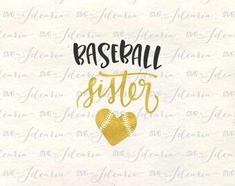 Baseball sister svg, Svg, baseball svg, baseball shirt svg, Svg File baseball, svg baseball, baseball cut file, baseball heart svg