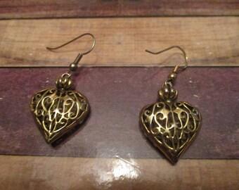 Gold Heart Earrings for Pierced Ears (1980s)