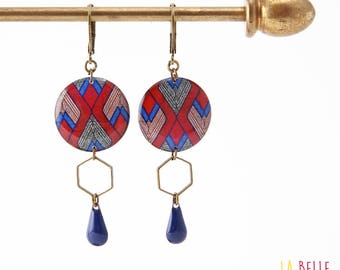 Resinees earrings round Hexagon pattern graphic wax