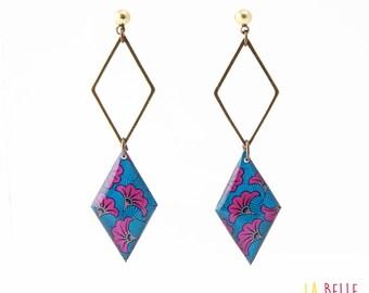 double Stud Earrings diamond, pattern blue and purple wax resin Locket