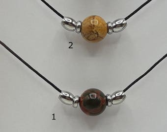 Choker necklace stone natural Picasso Jasper - 5 beads to choose from-necklace has your dimension - B036