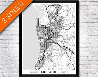 Every Road in Adelaide map art | Printable Adelaide map print, Adelaide print, Adelaide poster, Adelaide art, South Australia map wall art