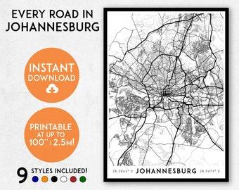 Johannesburg map print, Printable Johannesburg map art, Johannesburg print, South Africa map, Johannesburg art print, Johannesburg poster