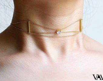 Layered choker Gold choker necklace Bridesmaids Gift Gold chain choker Diamond choker Dainty choker Crystal choker school supplies