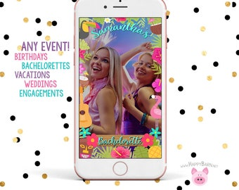 Snapchat GeoFilter, Tropical Snapchat Filter, Hawaiian Snapchat Filter, Polynesian Snapchat Geofilter, Luau Snapchat, Flamingo Snapchat