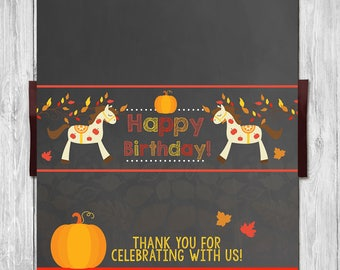 Autumn / Fall Birthday Horse Pony Candy Wrapper - Chalkboard - Pony Ride Party Chocolate Bar Label -  Horse Party Favor - Horse Birthday
