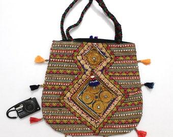 Handmade Ethnic Designer Tribal Banjara Patchwork Embroidered Hippy Fashionable Stylish Trendy Hippie Gypsy Boho Bohemian Carry Bag I210