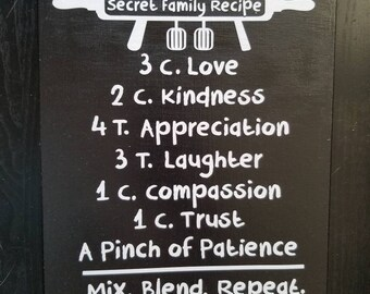 Secret Family Recipe wall sign