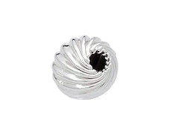 4mm Sterling Silver Twisted Corrugated Beads