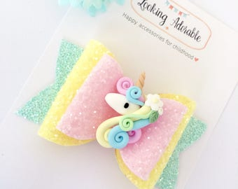 Unicorn Hair Bow | Glitter Unicorn Hair Bow | Pastel Unicorn Bow | Unicorn headband
