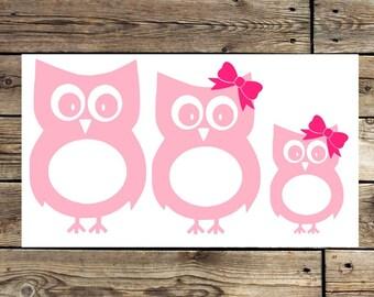 Owl Family Decal   Owl stick figure family   Owl Sticker   owl family decals   family of owls   owl decals   owl stickers   owl car decal  