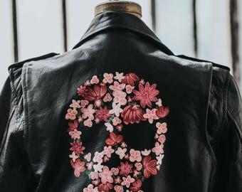 Hand-Painted Vintage Leather Biker Jacket w/ Flower Skull