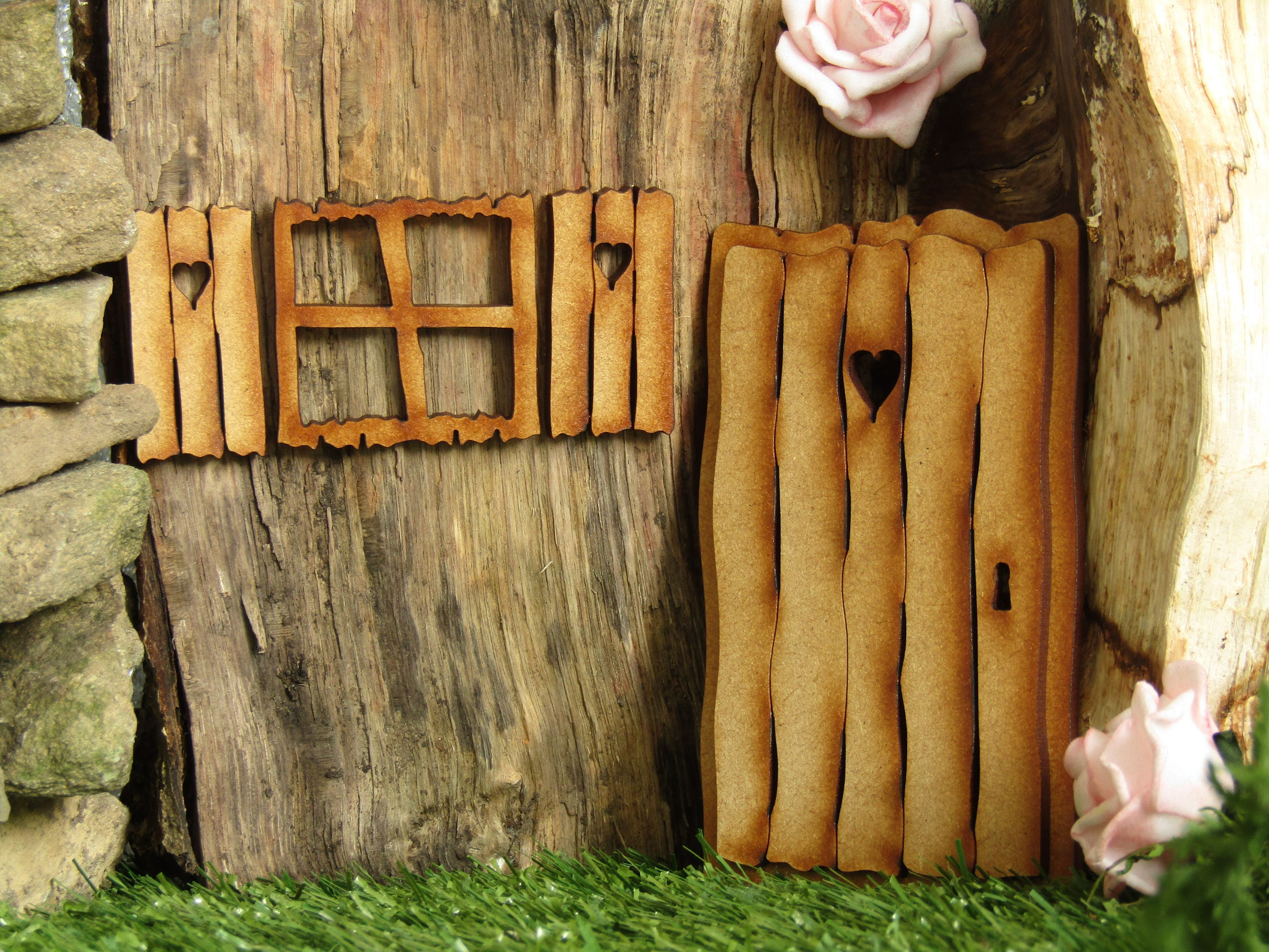 Rustic log cabin three dimensational fairy door craft kit for Fairy door kits canada