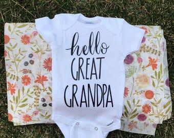 Gift For Grandpa, Hello Great Grandpa, Future  Great Grandpa, New Papa, Great Grandpa, First baby, Pregnancy Announcement, Pregnancy Reveal