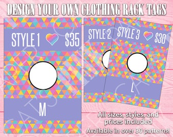 Clothing Rack Tags | Rainbow Triangles | Customize