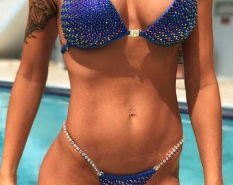 Blue Metallic Spandex Bikini Suit with Crystals/Competition Suit/Posing Suit/Rhinestone Fitness