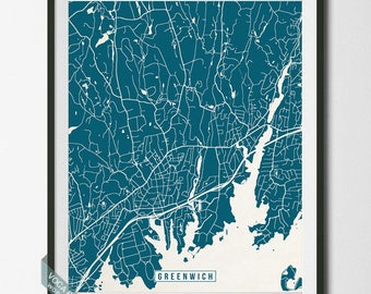 Greenwich Poster, Connecticut Poster, Greenwich Poster, Greenwich Map, Connecticut Print, Street Map, Fairfield County, Independence Day