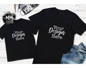 Black V-Neck Shirt and Toddler T-Shirt Mockup, Matching Shirt Display, Short Sleeve Black Tshirt Mockup, Styled Mock Up for Design Display