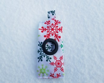 Colorful Snowflakes on White Dog Poop Bag - Christmas/Holiday/Winter Collection