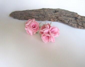 серьги с сакурой-Cherry blossom earrings-Sakura earrings-Jewelery with flowers-pink flower earrings-delicate botanical jewelry-polymer clay