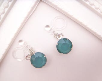 New color!Royal Green Swarovski Crystal Dangle Invisible clip on earrings,Japanese Ω Resin Clip On Earrings,Clip Ons,Non pierced Earrings
