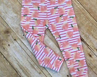 Peach leggings // baby leggings / girls leggings // toddler leggings