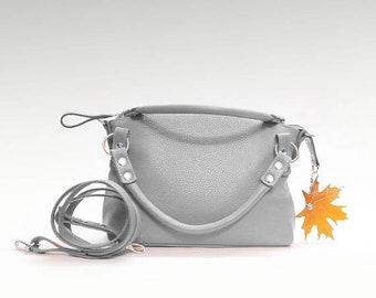 Gray Leather bag soft leather handbag  cow leather crossbody women's handbag crossower shoulder bag small leather purse minimalist bag