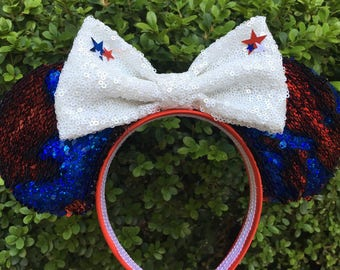 Fourth of July Sequin Mouse Ears- Sequins Two Tone Sequins Change from Red to Blue