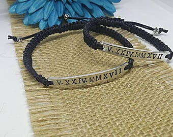 Roman Numerals Bracelets, Roman Numerals, Custom Couples Bracelets, Couples Bracelet, Anniversary Bracelets, Bracelet Set, Anniversary Gift