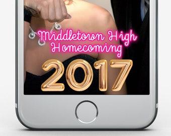 Custom Snapchat Filter, Homecoming Filter, Neon Snapchat Filter, High School, College Homecoming Snapchat Geofilter, Foil Balloon Filter