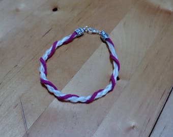 Pink horsehair and suede bracelet
