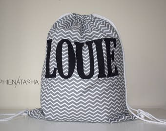Personalised Grey Chevron Fabric Drawstring Bag/School Bag/PE Bag - Any name can be embroidered onto the cotton fabric bag