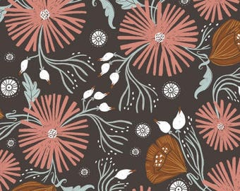 One Yard Cut - Wild Folk Floral in Chocolate - Folkwood by Rae Ritchie for Dear Stella -  Quilters Cotton- Fabric by the Yard
